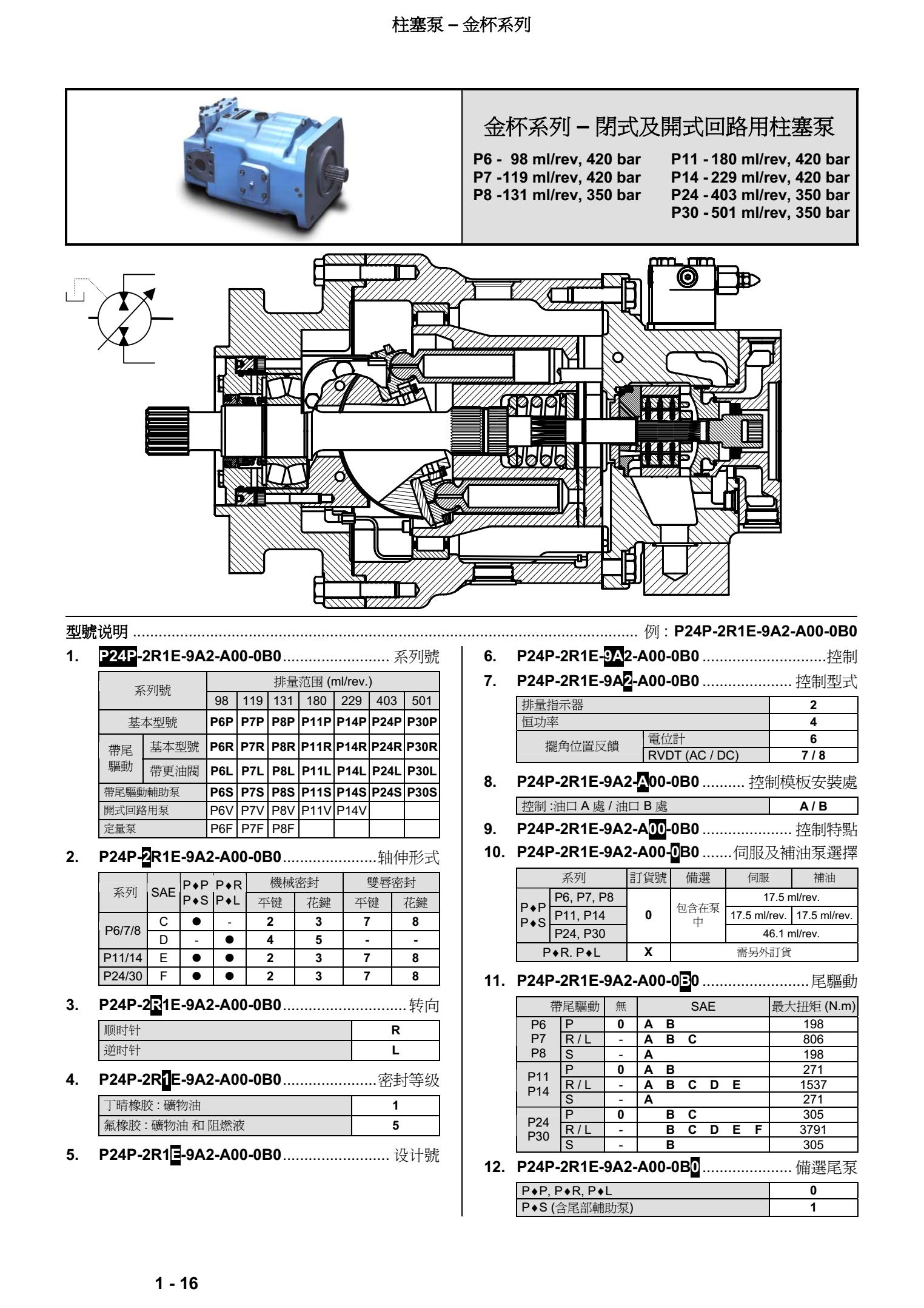 丹尼逊金杯系列柱塞泵型号说明